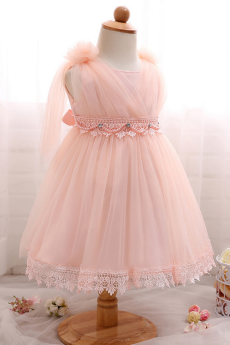 Baby Toddler Girl 1 Year Birthday Party Dress Summer Baby Girl Clothes Infant Christening Gowns Baptism Dress For Girl pink