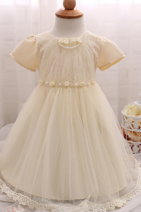 Baby Newborn Girl 1 Year Birthday Party Dress Summer Toddler Tutu Clothes Lace Christening Gowns pale yellow