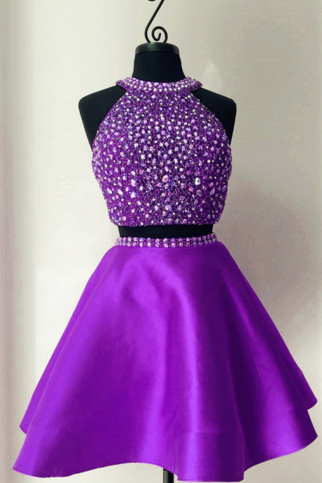 Homecoming Dress,sequins and pearl beaded halter short satin homecoming dresses two piece prom dress