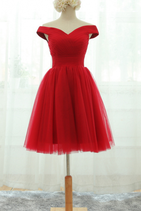 Red Off-The-Shoulder Ruched Short Tulle Homecoming Dress Featuring Lace-Up Back, Formal Dress