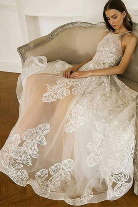 Unique A-Line Round Neck Champagne Lace Tulle Long Prom/Eevening/Wedding Dress