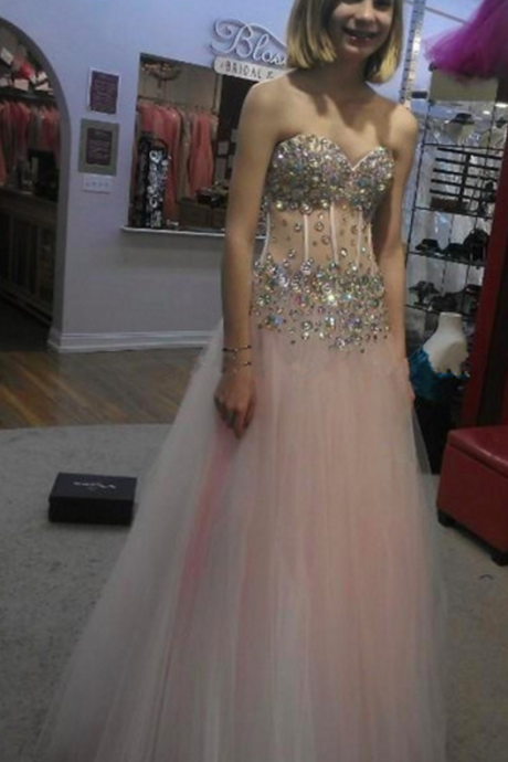 Sexy Tulle Prom Dresses ,Sleeveless Crystal Beaded Party Gown Formal Dress Prom Dress