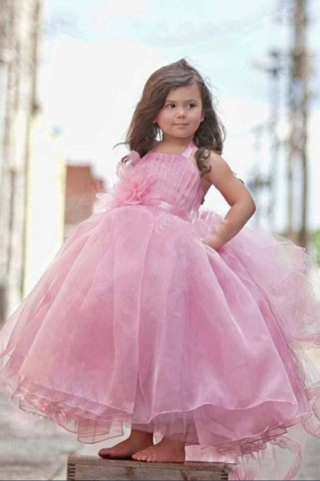 Hot Sale Spring Wedding Party Puffy Ball Gown Lovely Pink Flower Girl Dresses Ruffle Pageant Dress