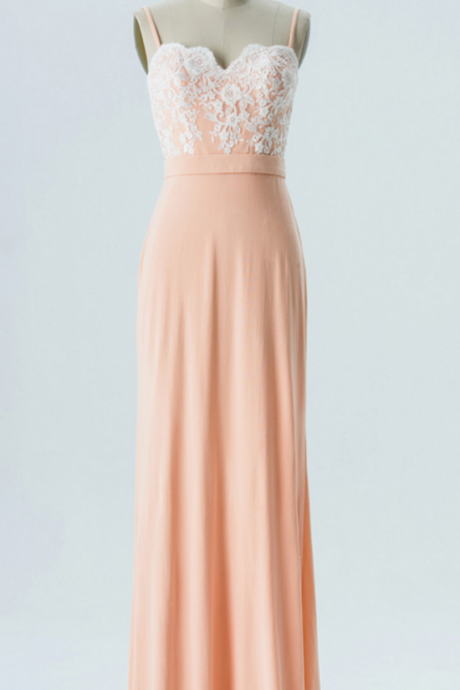 Lace Appliqués Chiffon Sweetheart Spaghetti Straps Floor Length A-Line Formal Dress Featuring Lace Train, Bridesmaid Dress