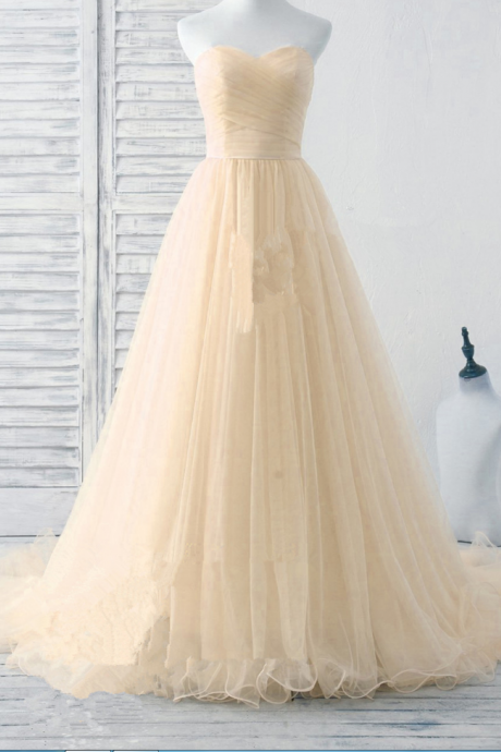 Lovely Light Champagne Tulle Sweetheart Prom Dresses, Tulle Party Gowns, Formal Dresses