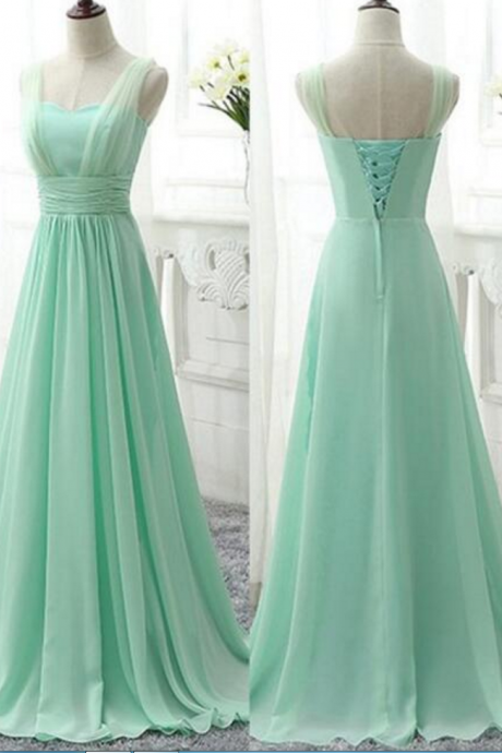Straps Mint Green Long Lace-Up Bridesmaid Dresses, Chiffon Bridesmaid Dresses, Mint Wedding Party Dresses