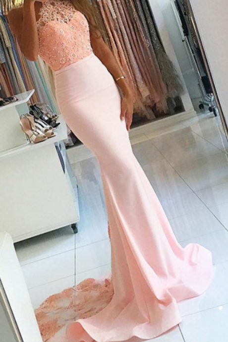 Pink Prom Dresses,Halter Prom Dresses,Lace Prom Dresses,Prom Gowns,Backless Prom Dresses,Mermaid Prom Dresses,Beaded Evening Dresses,Cute Dresses,Long Prom Dresses,Prom Dresses