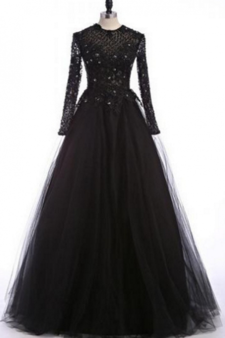Black Long A-line Sequins Tulle Prom Dresses
