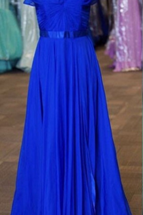 Blue Ruching Short Sleeves A-line Chiffon Prom Dresses