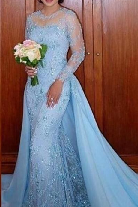 Sky Blue Lace Appliques Party Dress, Formal Evening Dress With Full Sleeve, Vestidos De Festa