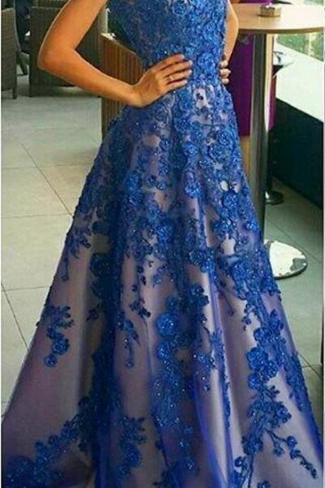 A-line Prom Dresses,Lace Appliques Prom Dresses,Beaded Prom Dresses,Blue Prom Dresses,Straps Prom Gowns,Formal Evening Dresses,Custom Made Dresses