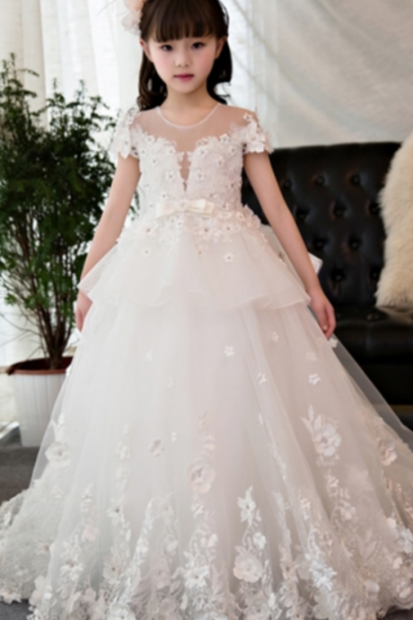 White Short Sleeves Beading Ball Gown Flower Girl Dress
