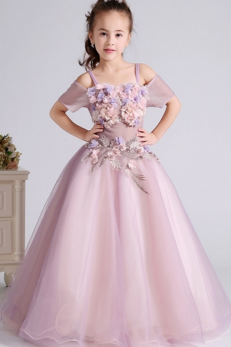 Custom Made Pink 3D Floral Applique Cold-Shoulder Floor-Length Evening Dress, Kids Clothing, Party Frock, Flower Girl Dresses, First Holy Communion Dresses, Pageant Dress
