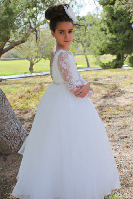 Flower girl dress, Princess Long Sleeves Backless Flower Girl Dresses Lace Beads Kids First Communion Dress Girls Pageant Birthday Party Dresses,