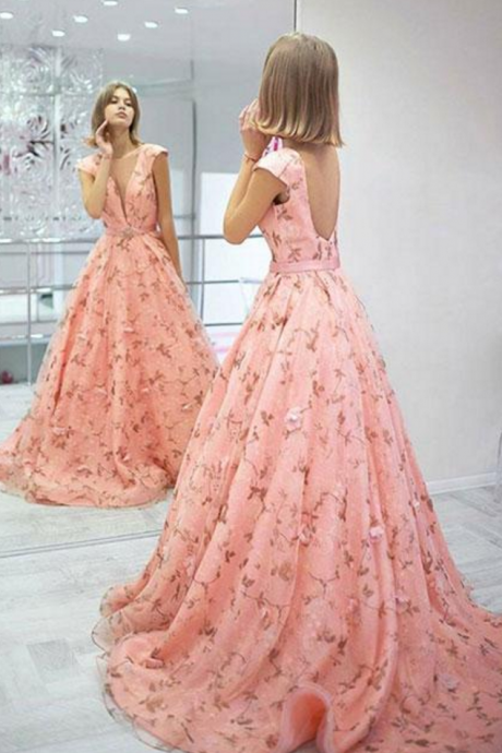 White v neck lace tulle long prom dress, white evening dress Stylish pink floral pattern long prom dress, pink evening dress