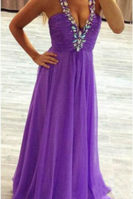 Sexy Backless Prom Dresses,Beaded Halter Purple Graduation Dresses,Sexy Evening Party Dresses