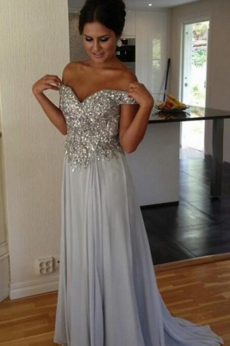 Gray Prom Dresses,Silver Grey Prom Dress,Sexy Prom Dress,Sequined Prom Dresses, Formal Gown,Chiffon Evening Gowns,A Line Party Dress,Sequin Prom Gown For Teens,