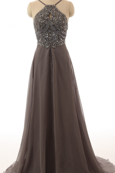 Brown Beadings Prom Dresses,Halter Long Prom Dress,