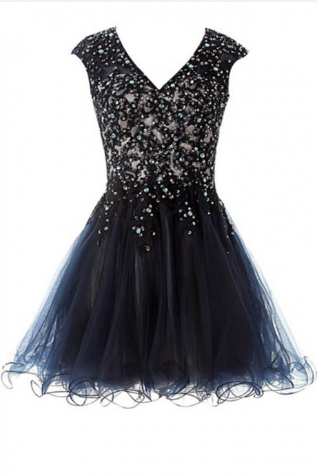 Black A-line V-neck Satin Tulle Short Mini Beading Appliques Lace Open Back Homecoming Dresses,