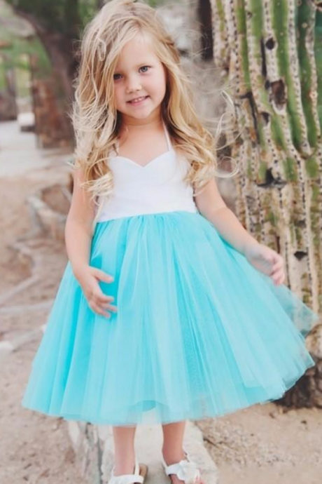 Holy Flower Girl Dresses White and Mint A Line First Communion dress Halter Neck Tea Length Bridal Dresses Beautiful Girl,