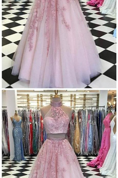 prom dresses,Pink two pieces lace tulle long prom dress, pink evening dress P1710
