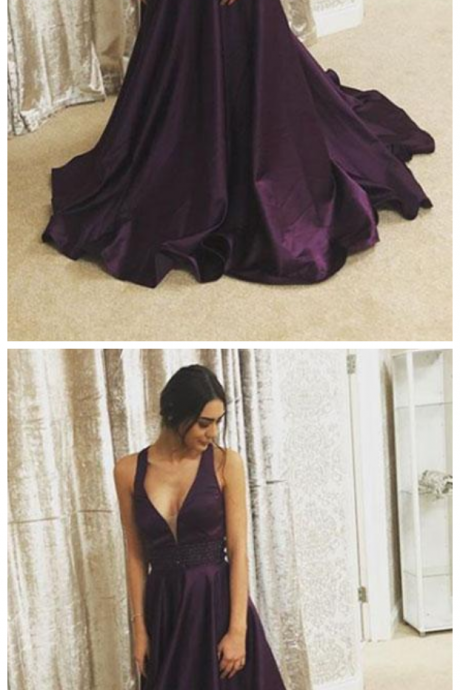 prom dresses,Purple v neck long prom dress, purple evening dress P1712