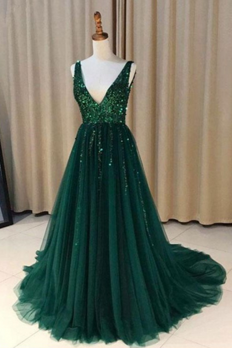 Stylish A-Line V-Neck Green Tulle Long Prom Dress Evening Dresses with Sequins