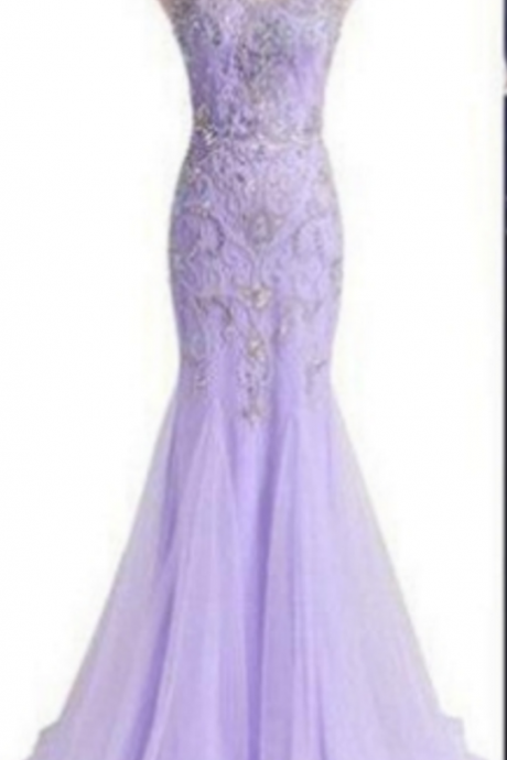 Sleeveless Beaded Embellished Mermaid Tulle Long Prom Dress, Evening Dress