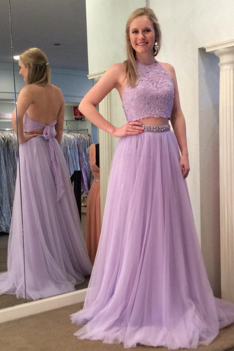 Two-Piece Prom Dress, Long Prom Dress, Beaded Prom Dress, Lace-up Prom Dress, Halter Prom Dress, Backless Prom Dress