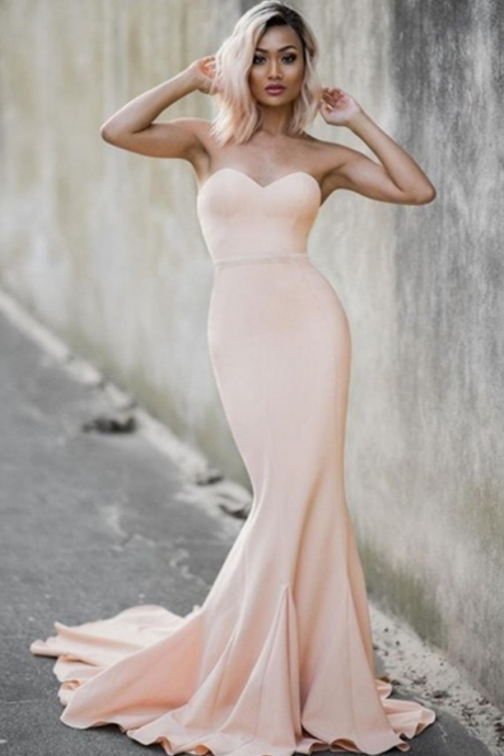 Pastel Pink Sweetheart Neckline Floor Length Mermaid Guest Wedding Dress