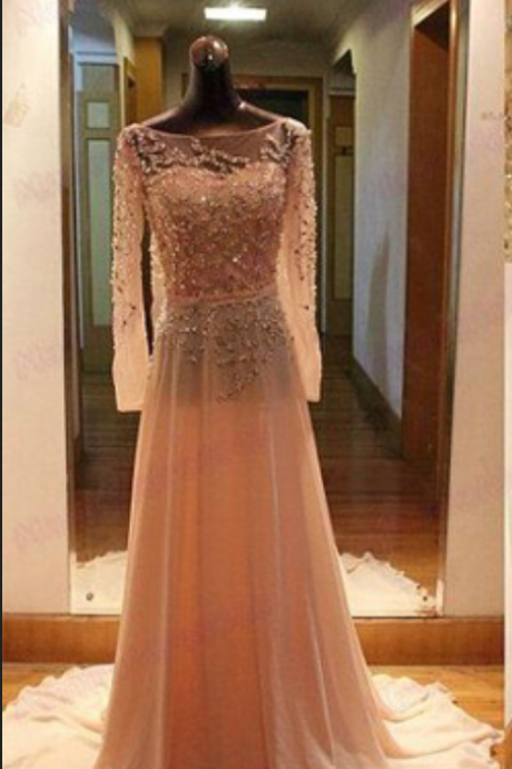 Peach prom dress, long sleeve prom dress, long prom dress, prom dress, handmade dress, affordable prom dress