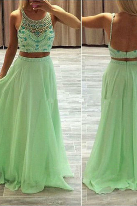 Prom Dresses, Beaded Prom Dresses, Two Piece Prom Dresses,Handmade Long Dress for Prom Party