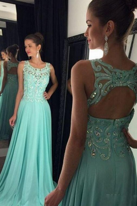 Lace Applique Evening Dress, Chiffon Evening Dress, Long Evening Dress, Cheap Evening Dress, Blue Evening Dress, Elegant Evening Dress, Formal Dress