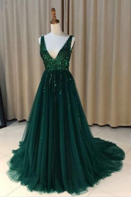 A-Line V-Neck Long Prom Dress, Sweet 16 Dress, Prom Dresses For Teens, Pageant Dresses, Party Dresses, Banquet Gown