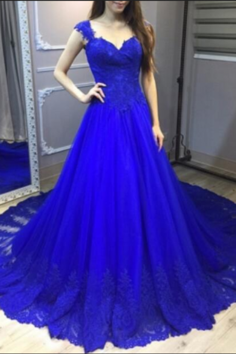 Royal Blue Appliques Tulle Backless Prom Dress, Elegant Prom Dress,Cap Sleeves Prom Gowns