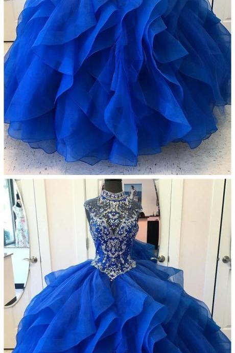 Royal Blue Organza Skirt Shine High Neck Quinceanera Dresses