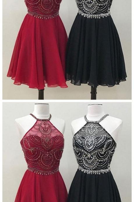 Unique Beads Burgundy And Black Chiffon Short Prom Homecoming Dress
