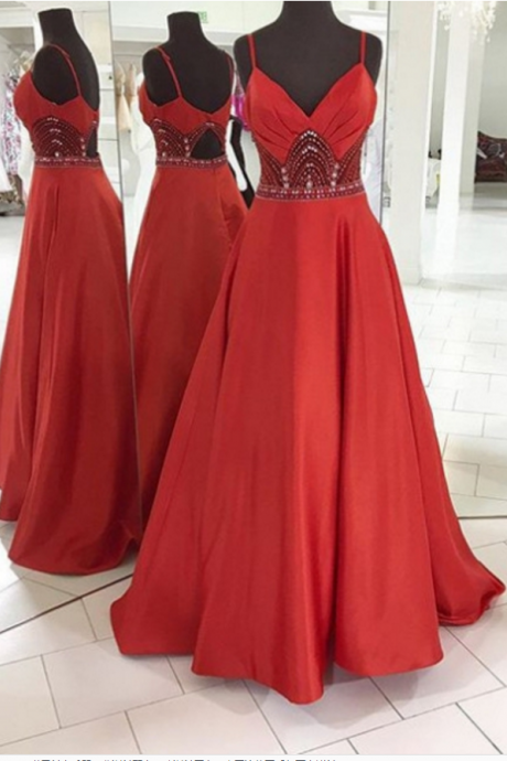 Red Prom Dresses Spaghetti Straps Crystal A-line Satin