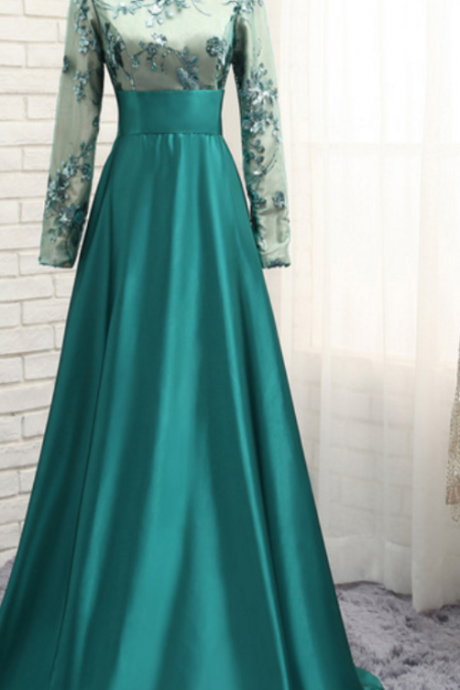 Charming Prom Dress, Long Sleeve Appliques Evening Dress, A Line Prom Dresses