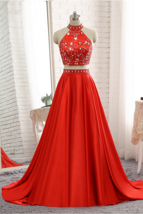 A-line Red Evening Dresses Soft Satin Prom Party Gown