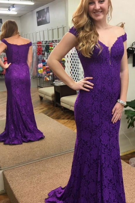 Purple Lace Prom Dresses Long Mermaid Evening Dresses Off the Shoulder Formal Pageant Gowns Elegant V Neck Party Graduation Dresses