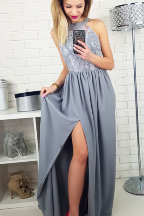 Gray Satin A-line Prom Dresses Elegant Evening Dresses Formal Gowns High Slit Party Dresses