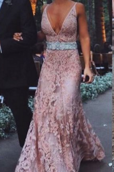 Charming Prom Dress,Sexy Prom Dress,Backless Prom Dress,Lace Pink Prom Gowns,V neck Prom Dress