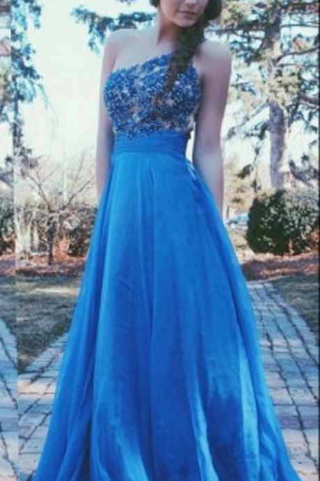 long prom dress, one shoulder prom dress, blue prom dress, elegant prom dress, cheap prom dress, party prom dress, evening dress,