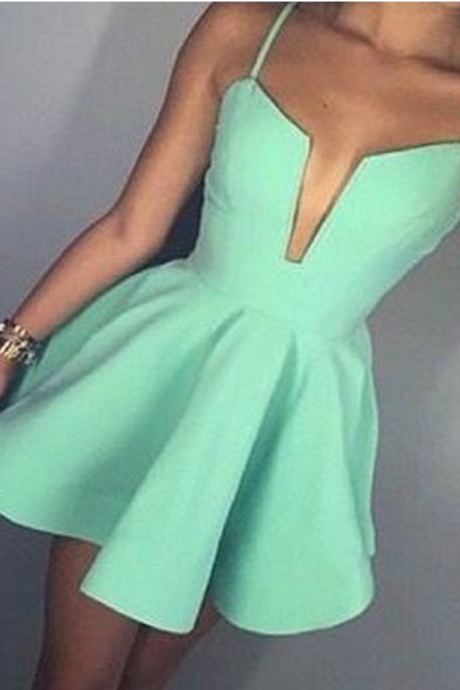 Short Mint Green Spaghetti Straps Simple V-neck A-line sexy freshman homecoming prom dresses