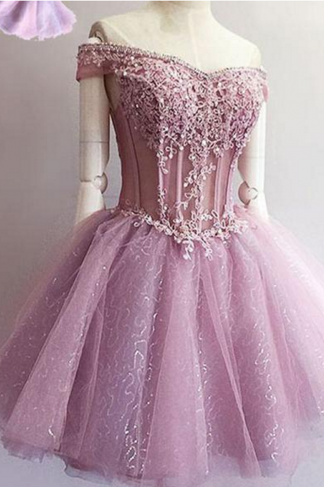 Purple off shoulder see through charming unique style homecoming prom gown dresses