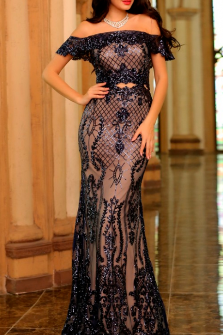Elegant Mermaid Evening Dresses Long Boat Neck Off-Shoulder Sequins Mermaid Simple Graceful Noble Dress Formal Prom Gowns