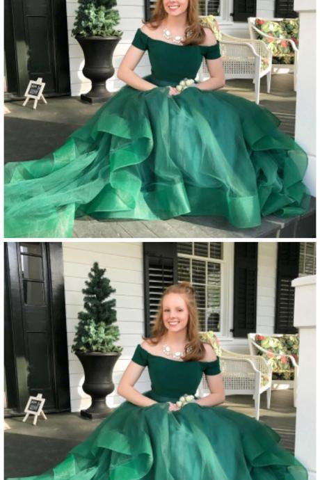 Off The Shoulder A-Line High-Low Tiered Green Tulle Prom Dress