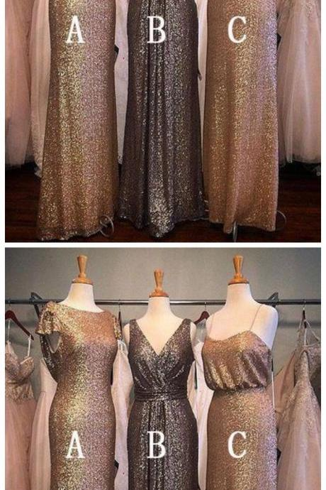 Charming Popular Sequin Mismatched Long Wedding Bridesmaid Dresses