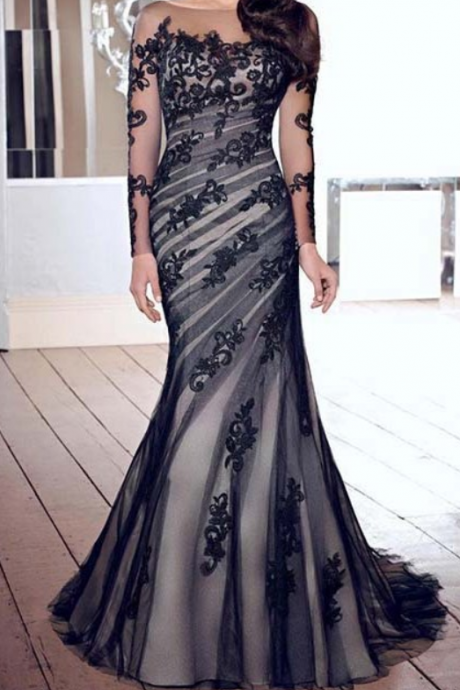 Fashion Black Prom Dresses,Mermaid Prom Dress,Long Sleeve Evening Gown,Backles Dresses,Formal Women Dress,Gown
